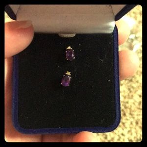 Amethyst Stud Earrings with Diamond Accents